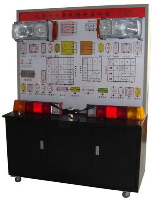 汽车灯光系统接线实训台(可选各系统) 壹套汽车灯光系统接线实训台:包含灯光/仪表/起动/充电/点火/空调六大系列。 产品简介 汽车灯光系统接线实训台选用金杯灯光系统材料为基础制作,接线演示灯光照明系统的工作过程;本示教板功能齐全、操作方便、安全可靠。  (二)结构组成 前大灯、前角灯、前雾灯、侧灯、灯光开关总成、变光开关总成、尾灯、牌照灯、后雾灯、刹车灯开关、倒车灯开关、故障设置和排除盒、电池、线路图、控制面板、可移动台架、使用说明书。 (三)功能特点 1.充分展示灯光系统的组成结构。 2.可演示灯光系统