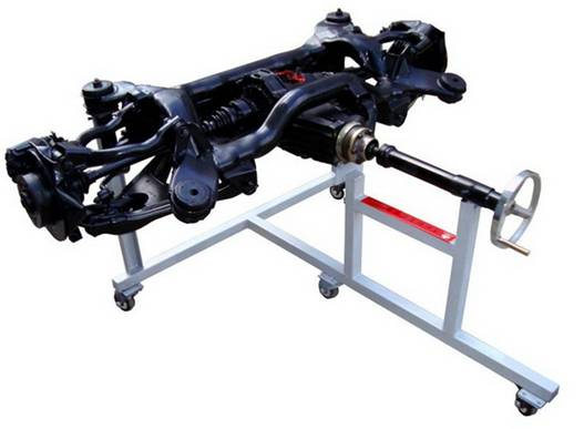 汽车后桥拆装演示实训台(轿车) 汽车后桥拆装演示实训台简介 1、由轿车后桥系统、传动轴等主要部件可移动式台架等组成。适用于各层次汽车专业实操技能的培训。 2.真实的汽车零部件展示及各部件之间的连接原理,利于学员对实物的认识。  (二)结构组成 后桥系统组件、钢铁台架、使用说明书及实训指导书等。 (三)功能特点 1.后桥系统差速器部件解剖处理、后桥系统结构与原理认识实训。 2.后桥系统各元器件结构与原理认识实训。 3.后桥系统拆装实训。 4.系统检测与维修实训。 5.操纵控制开关,可真实地演示汽车后桥系统所