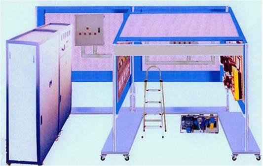 一、低压电气控制及内外线施工实训装置总体要求 低压电气控制及内外线施工实训装置在结构上以建筑模型(包含电缆敷设管道模拟、变压器及配电室、二次接线及室内布线室等典型结构)为基础,由电缆敷设、电力变压器的安装、10KV低压电缆终端的制作、小型配电箱安装、线管布线、电动机的安装等部分组成,各部分既可独立实训,也可组合成系统综合实训。  1.